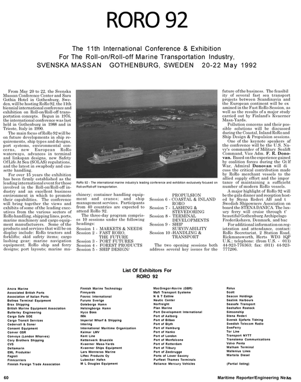 Maritime Reporter Magazine, page 66,  May 1992 TOR LINE