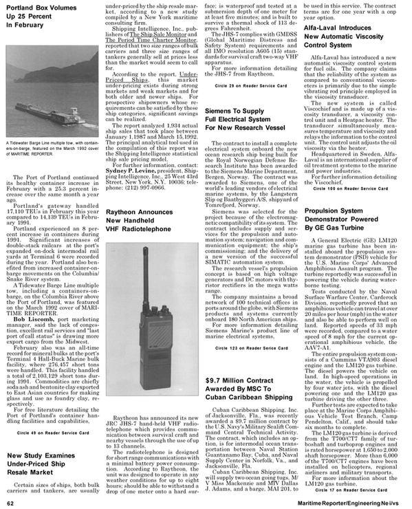 Maritime Reporter Magazine, page 68,  May 1992