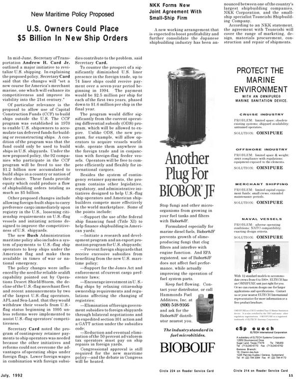Maritime Reporter Magazine, page 9,  Jul 1992