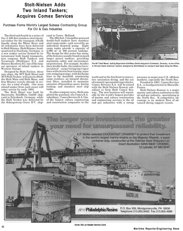 Maritime Reporter Magazine, page 10,  Jul 1992