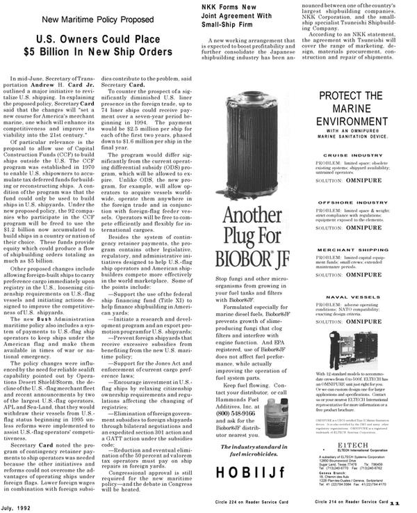 Maritime Reporter Magazine, page 11,  Jul 1992