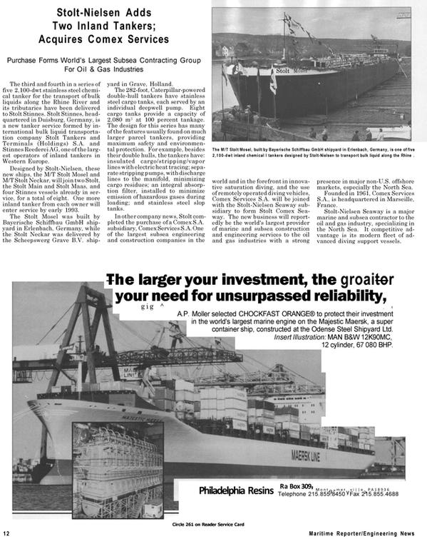 Maritime Reporter Magazine, page 12,  Jul 1992