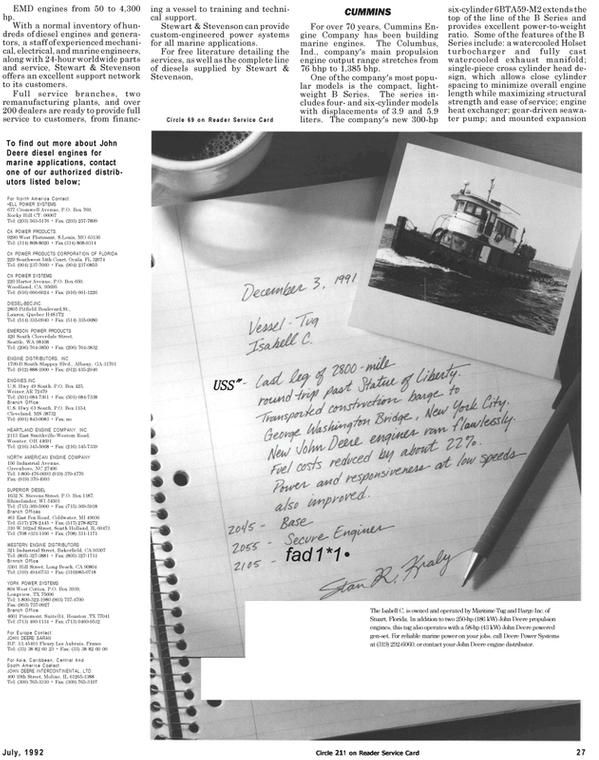 Maritime Reporter Magazine, page 29,  Jul 1992 Caribbean