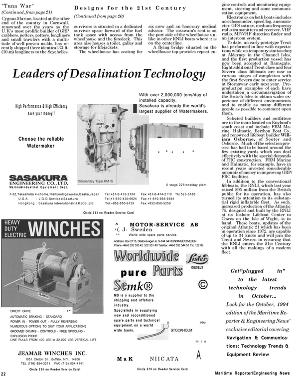 Maritime Reporter Magazine, page 20,  Sep 1994