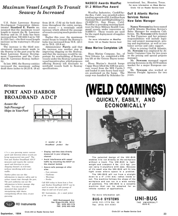 Maritime Reporter Magazine, page 21,  Sep 1994 Harbor BroadBand ADCP