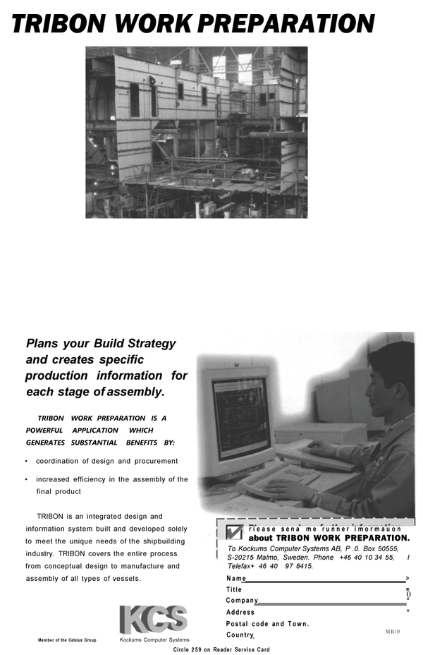 Maritime Reporter Magazine, page 27,  Sep 1994 Kockums Computer Systems AB