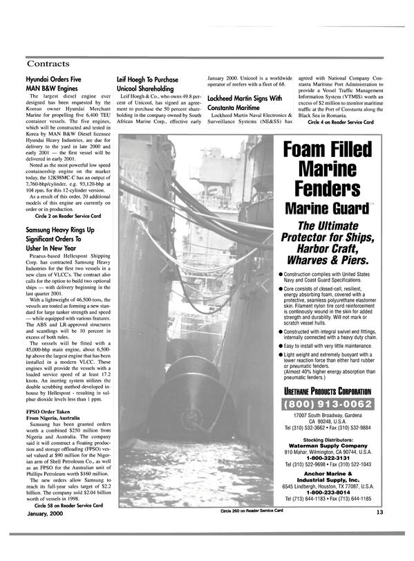 Maritime Reporter Magazine, page 13,  Jan 2000