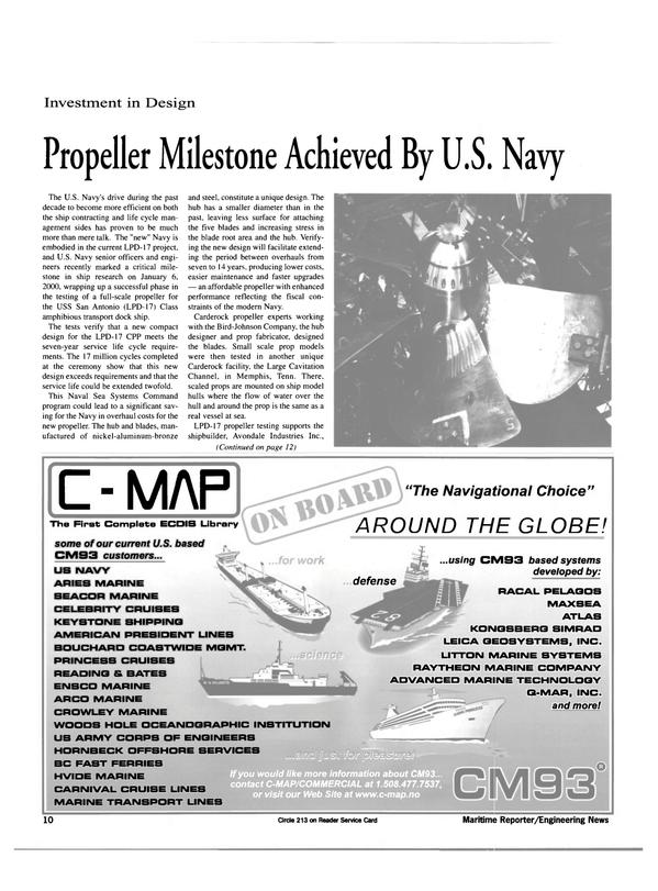 Maritime Reporter Magazine, page 10,  Feb 2000