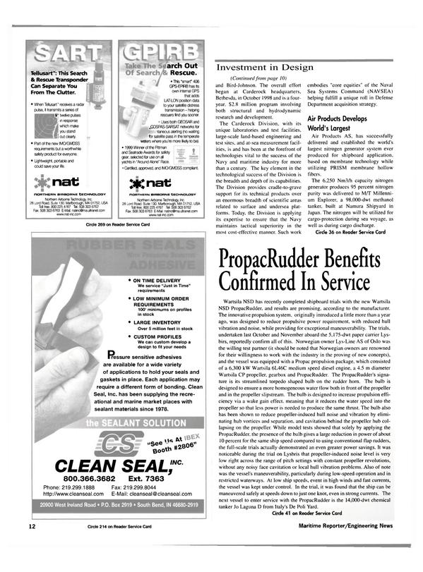 Maritime Reporter Magazine, page 12,  Feb 2000