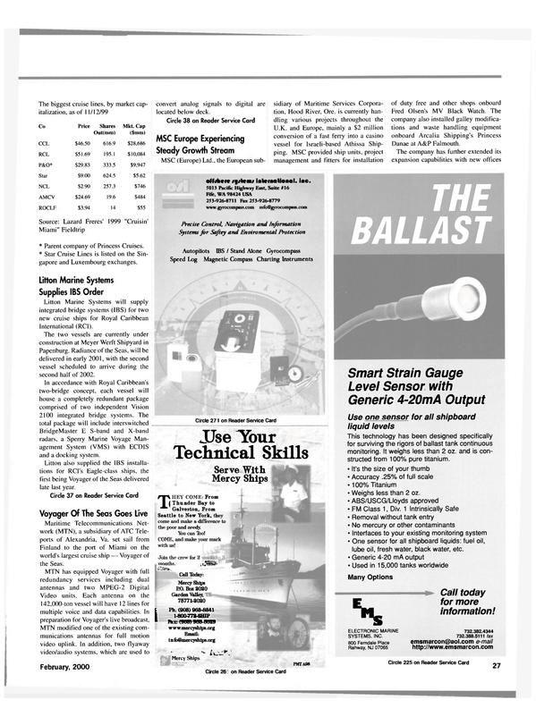 Maritime Reporter Magazine, page 27,  Feb 2000