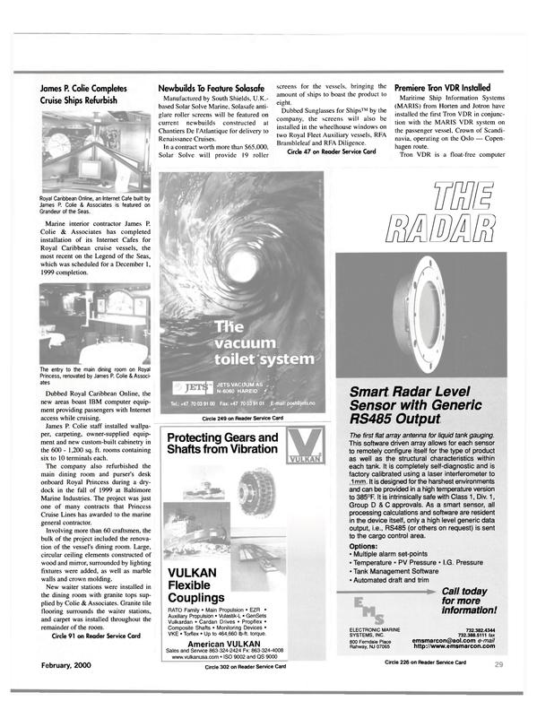 Maritime Reporter Magazine, page 29,  Feb 2000