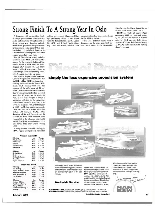 Maritime Reporter Magazine, page 37,  Feb 2000
