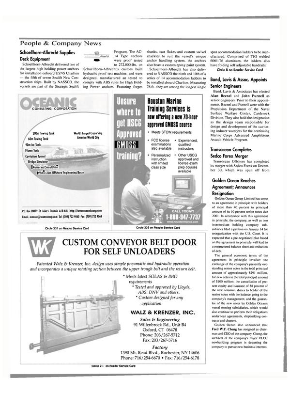 Maritime Reporter Magazine, page 58,  Feb 2000