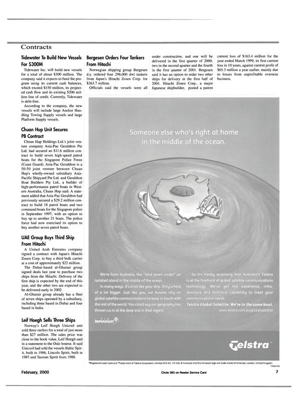 Maritime Reporter Magazine, page 7,  Feb 2000