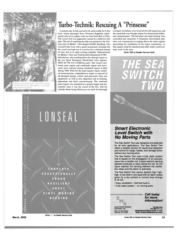Maritime Reporter Magazine, page 33,  Mar 2000 car deck