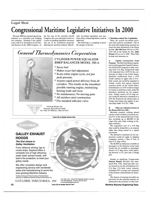 Maritime Reporter Magazine, page 20,  May 2000