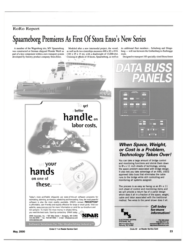 Maritime Reporter Magazine, page 23,  May 2000 Electronic Marine Systems Inc.