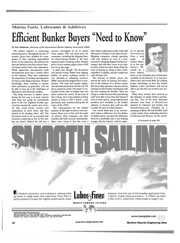 Maritime Reporter Magazine, page 44,  May 2000 online bunker purchas
