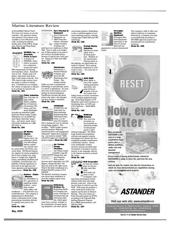 Maritime Reporter Magazine, page 55,  May 2000