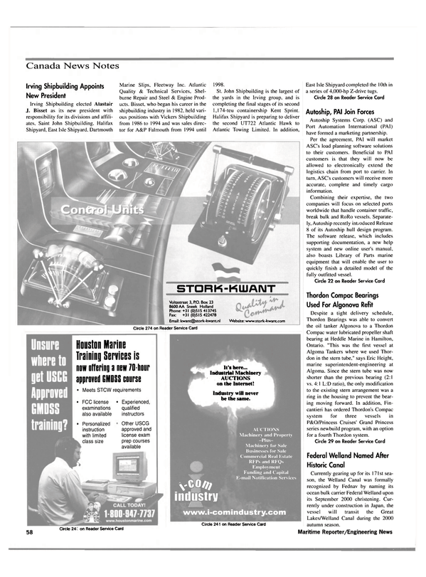 Maritime Reporter Magazine, page 60,  May 2000 Irving Shipbuilding Appoints