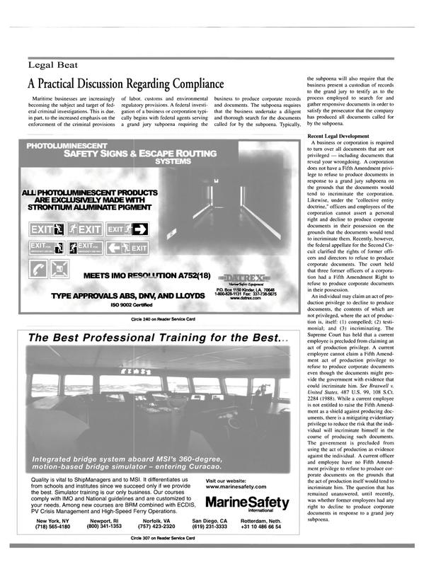 Maritime Reporter Magazine, page 14,  Jun 15, 2000