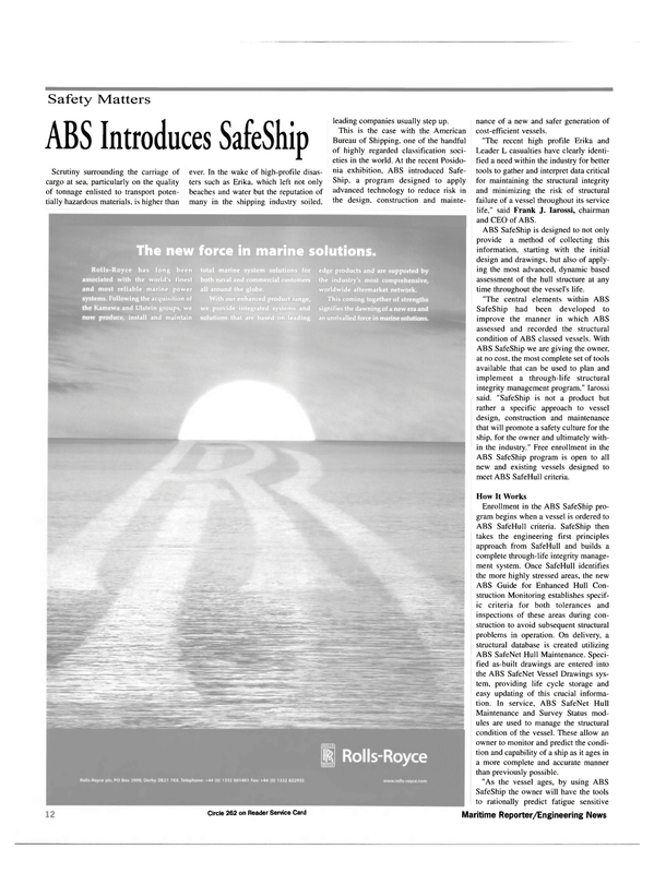 Maritime Reporter Magazine, page 12,  Jul 2000 aftermarket network