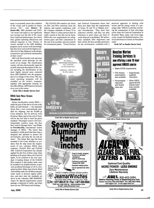 Maritime Reporter Magazine, page 15,  Jul 2000 New York