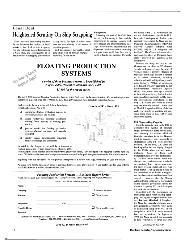 Maritime Reporter Magazine, page 16,  Jul 2000 Maryland