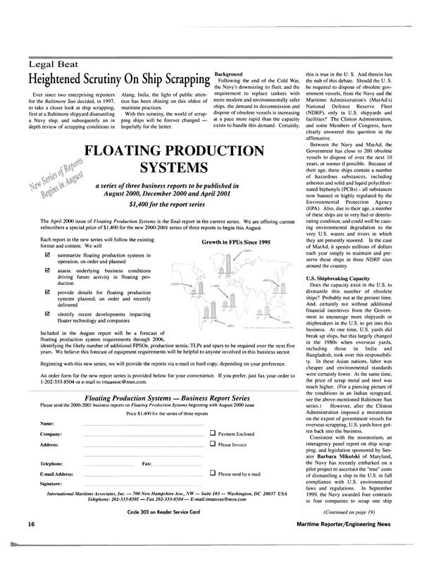 Maritime Reporter Magazine, page 16,  Jul 2000