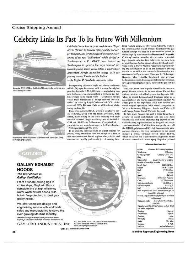 Maritime Reporter Magazine, page 26,  Jul 2000 Celebrity
