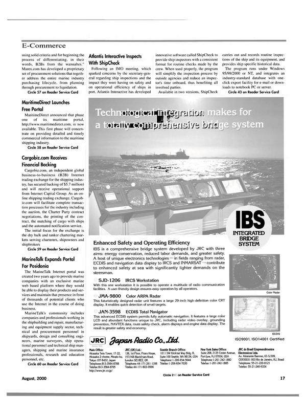Maritime Reporter Magazine, page 17,  Aug 2000