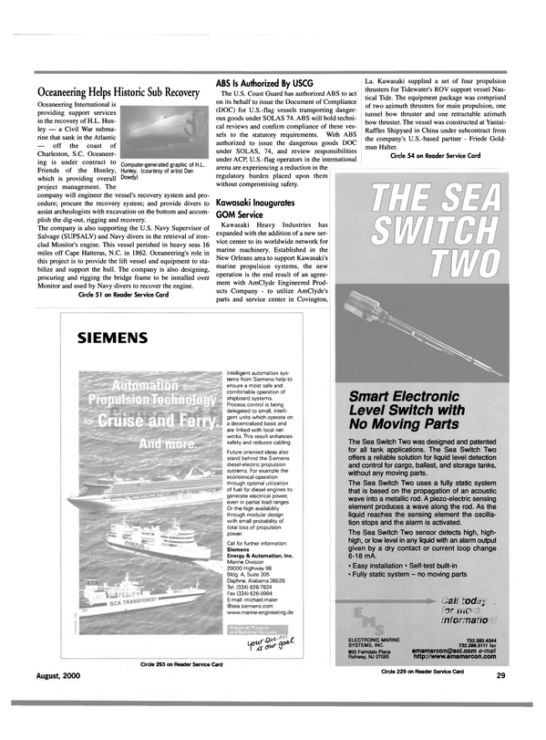 Maritime Reporter Magazine, page 29,  Aug 2000