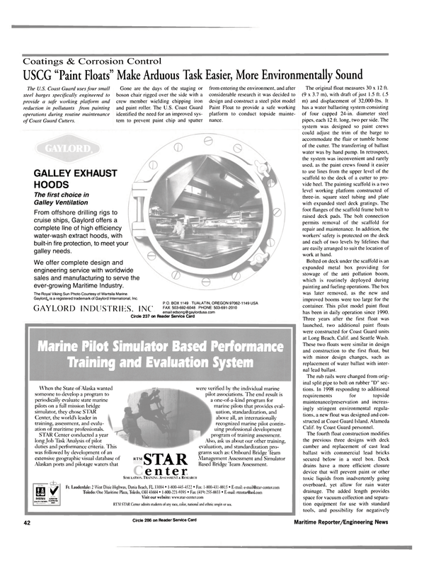 Maritime Reporter Magazine, page 42,  Aug 2000