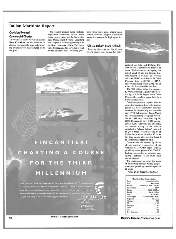 Maritime Reporter Magazine, page 48,  Aug 2000