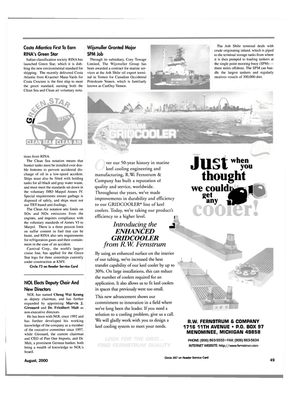 Maritime Reporter Magazine, page 49,  Aug 2000