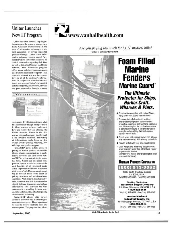 Maritime Reporter Magazine, page 13,  Sep 2000