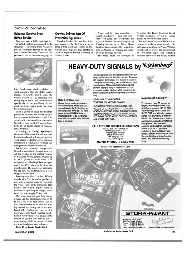 Maritime Reporter Magazine, page 23,  Sep 2000