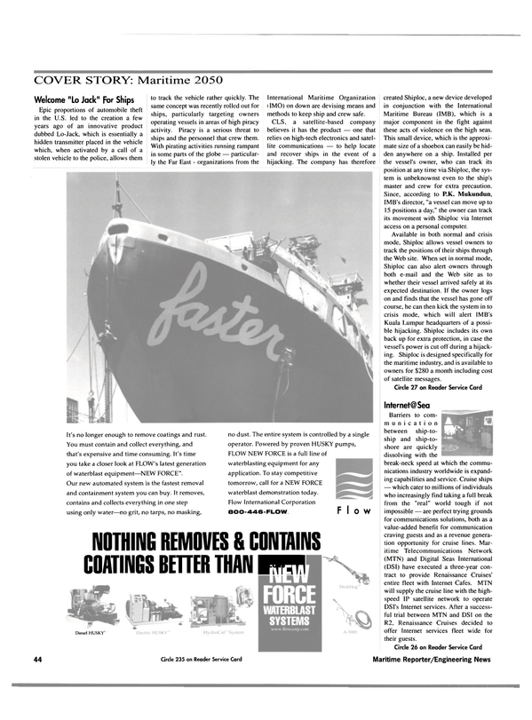 Maritime Reporter Magazine, page 44,  Sep 2000