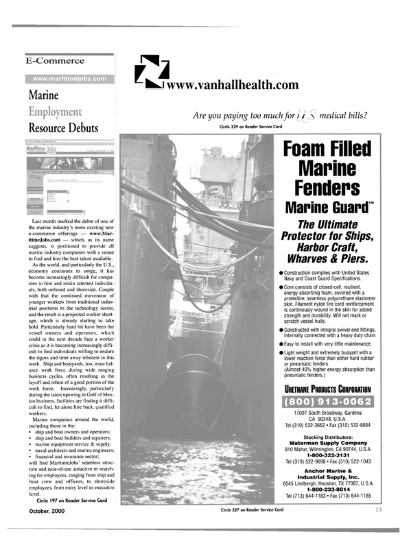Maritime Reporter Magazine, page 13,  Oct 2000