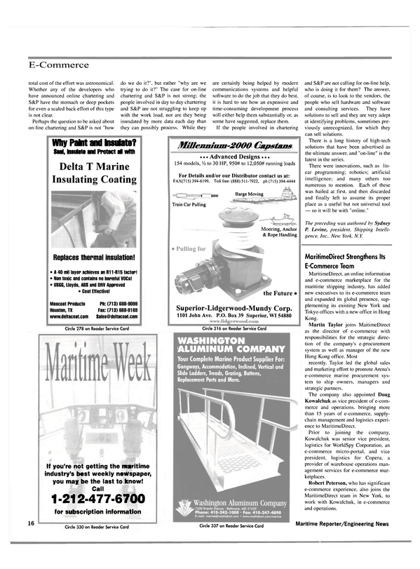 Maritime Reporter Magazine, page 16,  Oct 2000