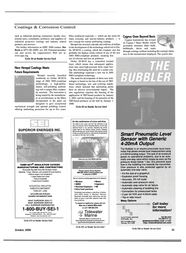Maritime Reporter Magazine, page 31,  Oct 2000