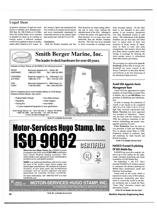 Maritime Reporter Magazine, page 42,  Oct 2000 Washington