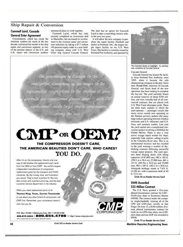 Maritime Reporter Magazine, page 50,  Oct 2000