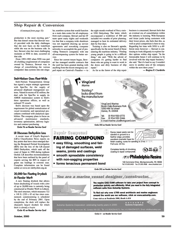 Maritime Reporter Magazine, page 61,  Oct 2000