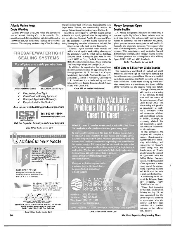 Maritime Reporter Magazine, page 62,  Oct 2000