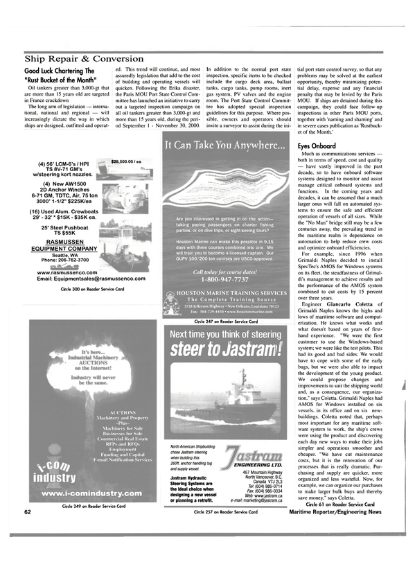 Maritime Reporter Magazine, page 64,  Oct 2000
