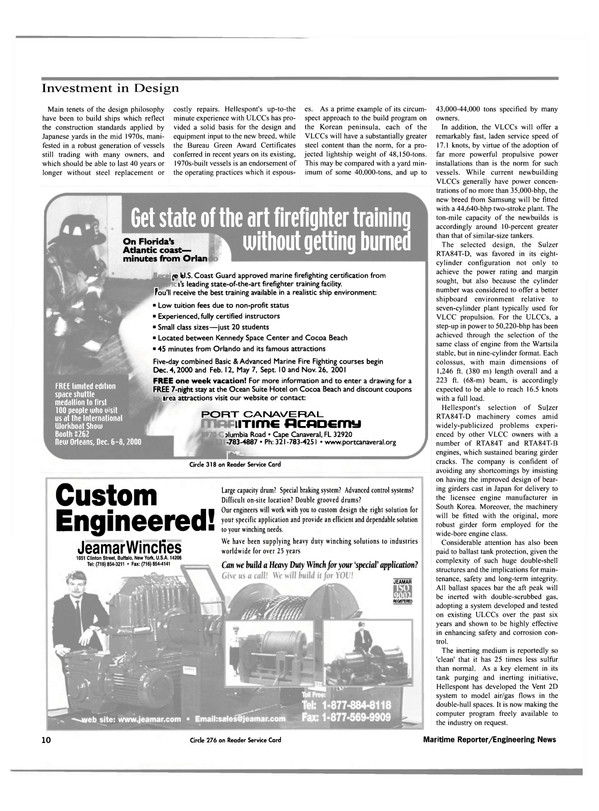 Maritime Reporter Magazine, page 12,  Nov 2000 Kennedy Space Center