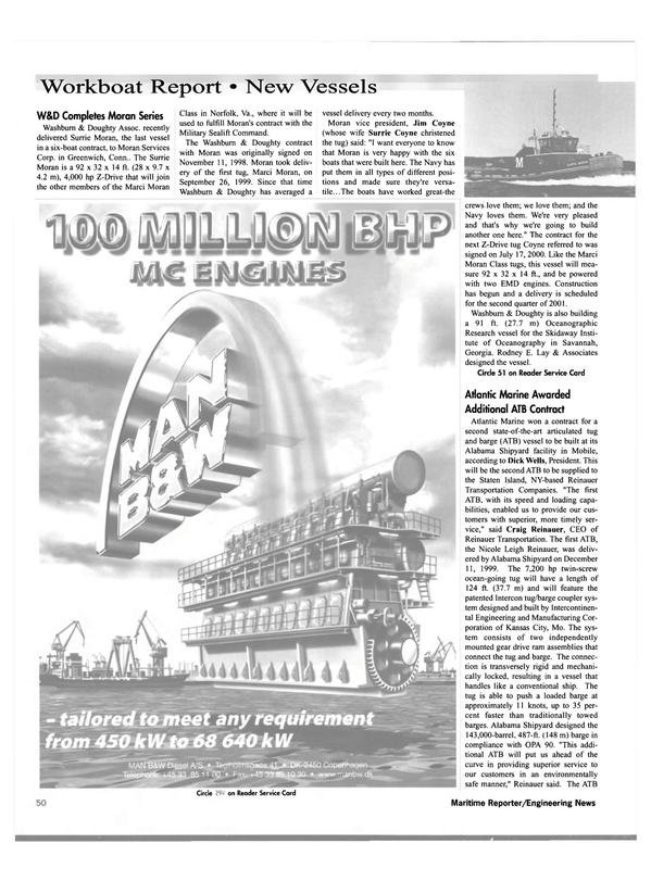 Maritime Reporter Magazine, page 52,  Nov 2000 New York