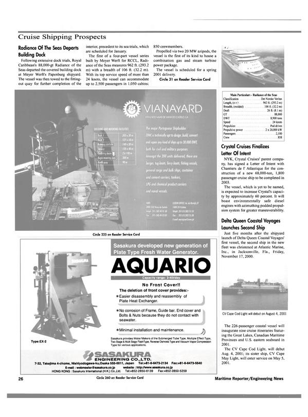 Maritime Reporter Magazine, page 29,  Dec 2000