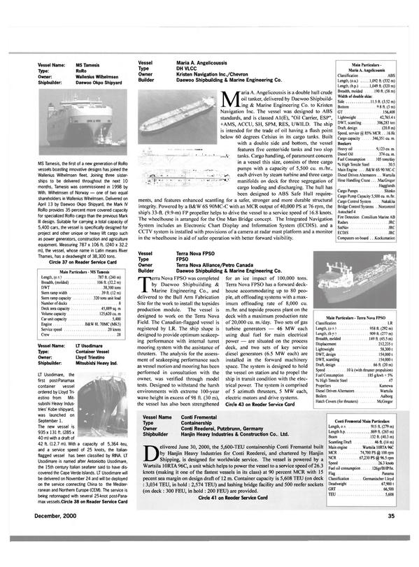 Maritime Reporter Magazine, page 38,  Dec 2000